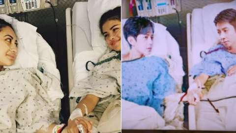 Original image of Francia Raisa and Selena Gomez beside the doctored image