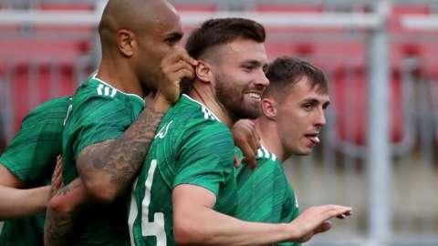 NI celebrate Gavin Whyte's goal against Malta