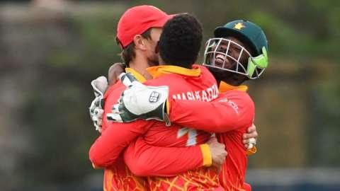 Zimbabwe celebrate victory in Edinburgh