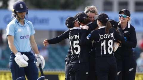 New Zealand celebrate dismissing England's Amy Jones
