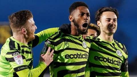 Forest Green celebrate Jamille Matt's goal