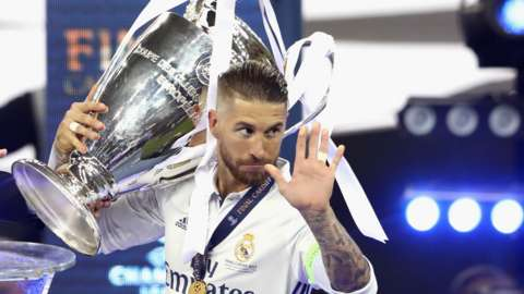 Sergio Ramos lifts the Champions League trophy, Cardiff, 2017.