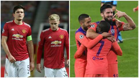 Split pic of Man Utd players looking dejected and Olivier Giroud celebrating scoring for Chelsea