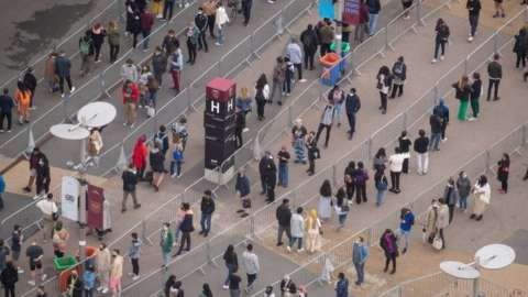 A queue at London Stadium
