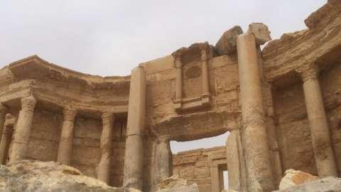 The damaged Roman theatre in Palmyra