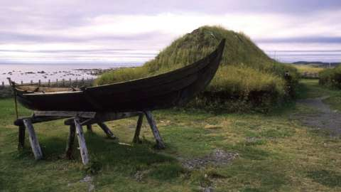 Replicas of Norse homes from about 1,000 years ago at L'anse Aux Meadows, Newfoundland, Canada