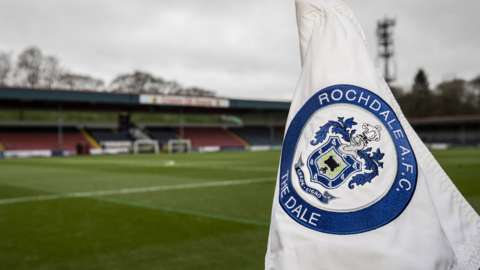 A corner flag at Rochdale's Crown Oil Arena