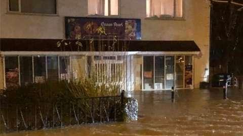 Flooding outside the Ocean Pearl restaurant, Ruthin