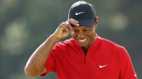 Tiger Woods smiles during the Masters in Augusta, Georgia, on 15 November 2020