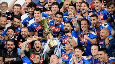 Napoli celebrate with the Coppa Italia