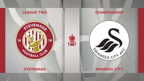 Stevenage v Swansea City badge graphic