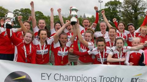 Pegasus players celebrate winning the 2019 Champions Trophy