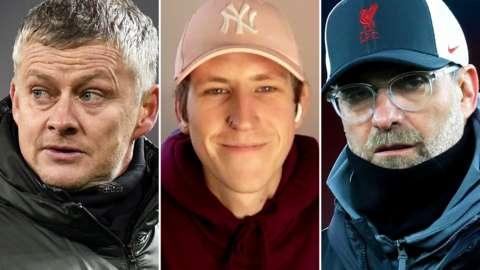 Split image of Ole Gunnar Solskjaer, TikTok star Nathan Evans and Jurgen Klopp