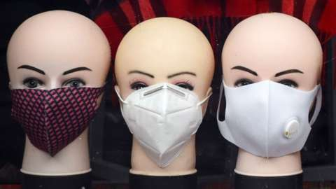 Face masks in a shop
