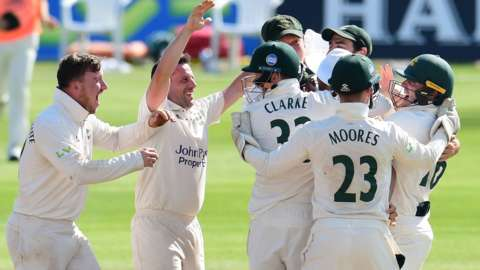 Nottinghamshire celebrate a wicket