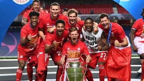 Bayern Munich celebrate winning the Champions League