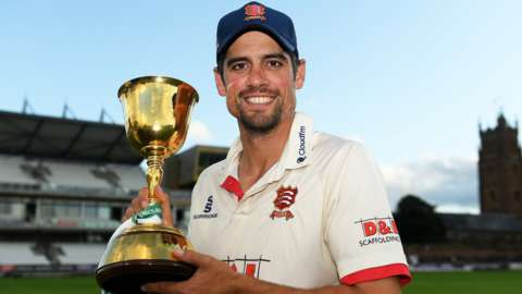 Essex opener Alastair Cook with the County Championship trophy