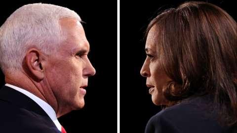 Composite of Kamala Harris and Mike Pence debating together
