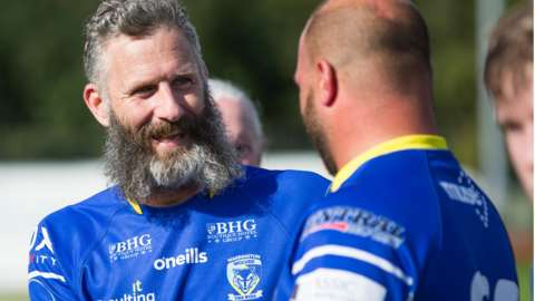 Adam Hills with Warrington team-mates