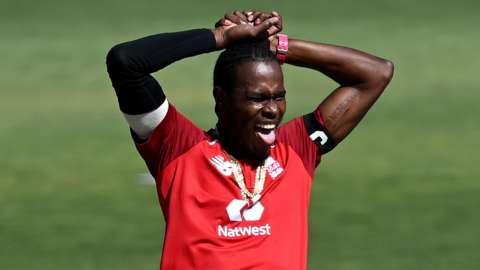 Jofra Archer reacts during a T20 match