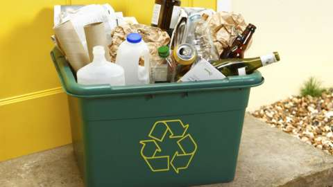 Assorted recycling in a box