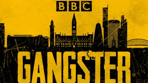 Black and yellow image of London with the word 'Gangster' and BBC logo