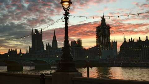 View of the Palace of Westminster from the other side of the River Thames