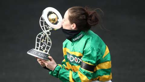 Rachael Blackmore with the Grand National trophy