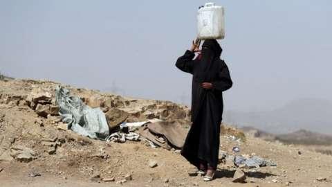 Displaced Yemeni woman near Sanaa