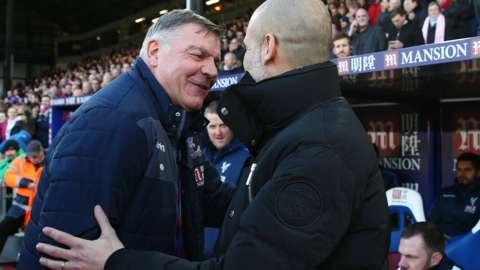 Sam Allardyce shakes Pep Guardiola's hand