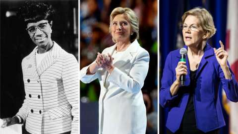 Female Democratic presidential hopefuls: (left to right) Shirley Chisholm, Hillary Clinton, Elizabeth Warren