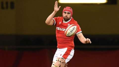 Cory Hill at line-out for Wales in 2021