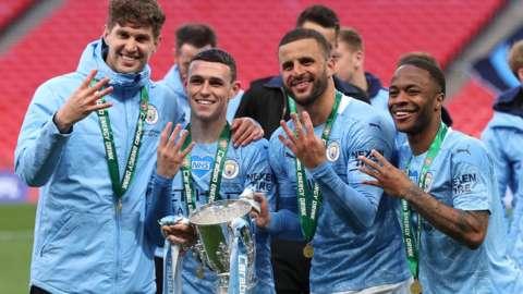 Man City celebrate.