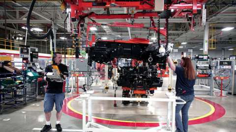 A Dodge Viper goes through assembly at the Viper Assembly Plant in Detroit, Michigan