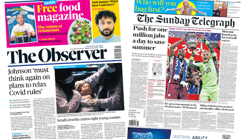 The Observer and the Sunday Telegraph front pages 16 May 2021