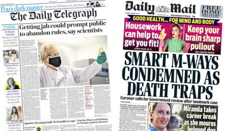 Telegraph and Daily Mail front pages for 19/01/21