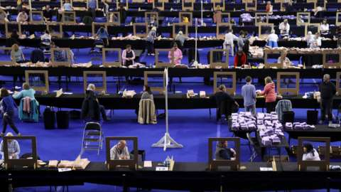 Election staff members count votes for the Scottish Parliamentary election at a counting centre in Glasgow