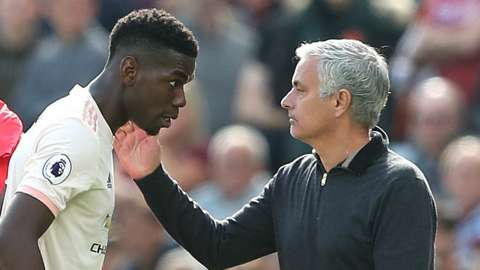 Paul Pogba (left) and Jose Mourinho