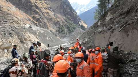 Rescuers conduct rescue operation near the damaged Dhauliganga hydro power project in Chamoli district, Uttarakhand, India, 09 February 2021.