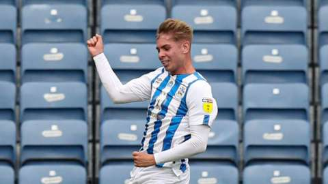 Huddersfield's Emile Smith Rowe celebrates his winner against West Brom