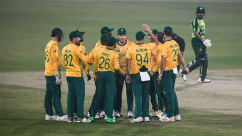 South Africa's cricketers celebrate a wicket