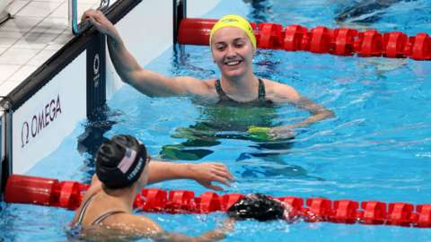 Ariarne Titmus and Katie Ledecky