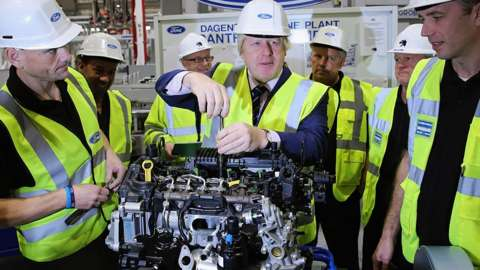 Boris Johnson at the Ford car factory