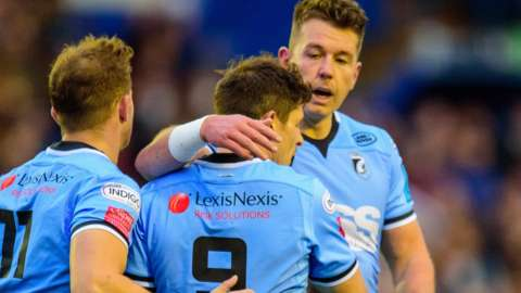 Cardiff celebrate Lloyd Williams' try