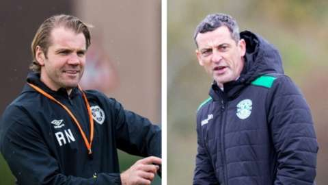 Hearts manager Robbie Neilson and Hibs' Jack Ross