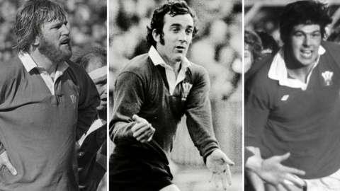 Derek Quinnell, Phil Bennett and Allan Martin