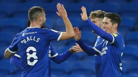 Cardiff's Joe Ralls and Harry Wilson celebrate