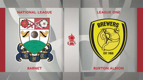 Barnet v Burton Albion badge graphic