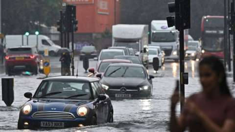 Nine Elms flooded