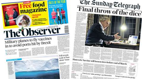 Composite image of the Observer and Sunday Telegraph front pages